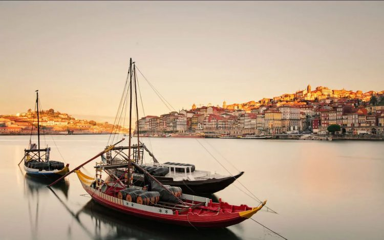 view of two boats from Ribeira Oporto