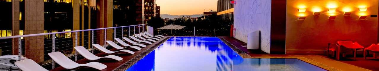 View over city hotel pool